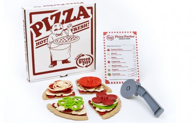 Green Toys set pizza con scatola, ingredienti e tagliapizza